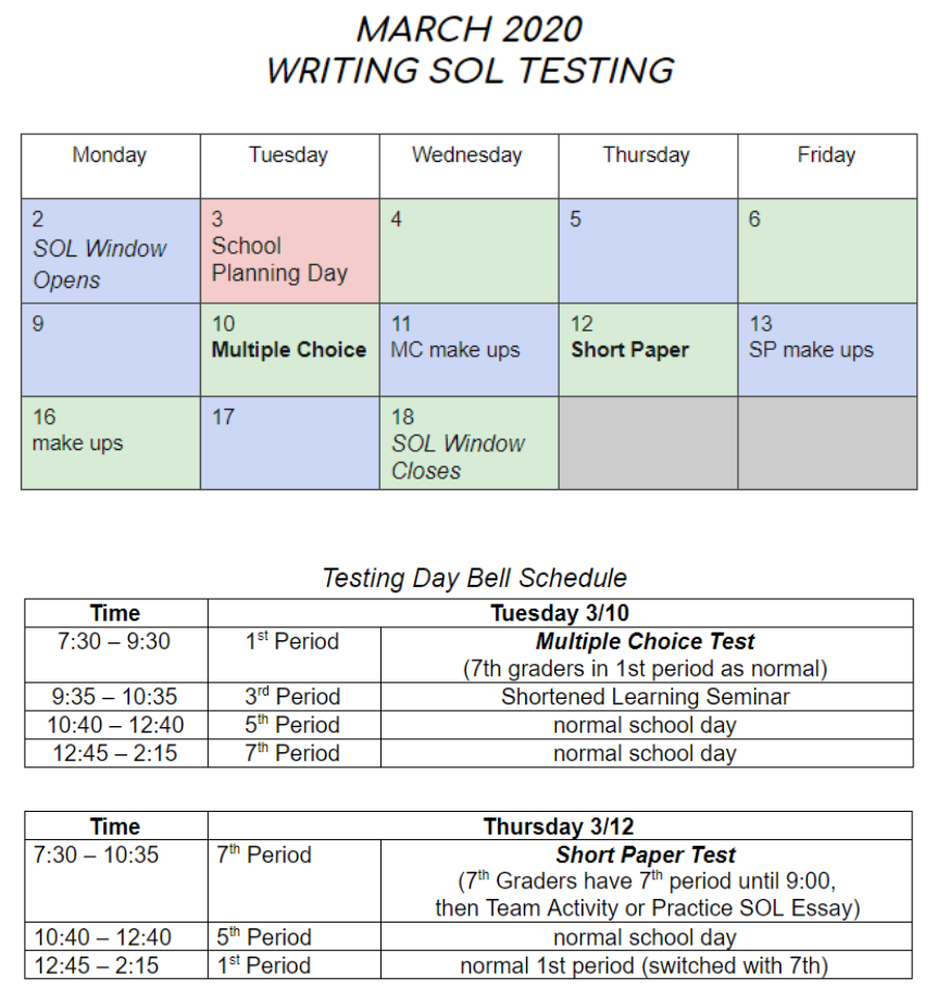 March 2020 Writing SOL Calendar and the Testing Day Bell Schedule
