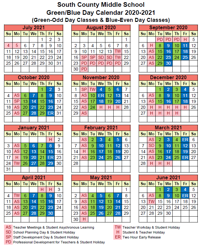 SCMS Blue Green Calendar for the 2020-2021 School Year
